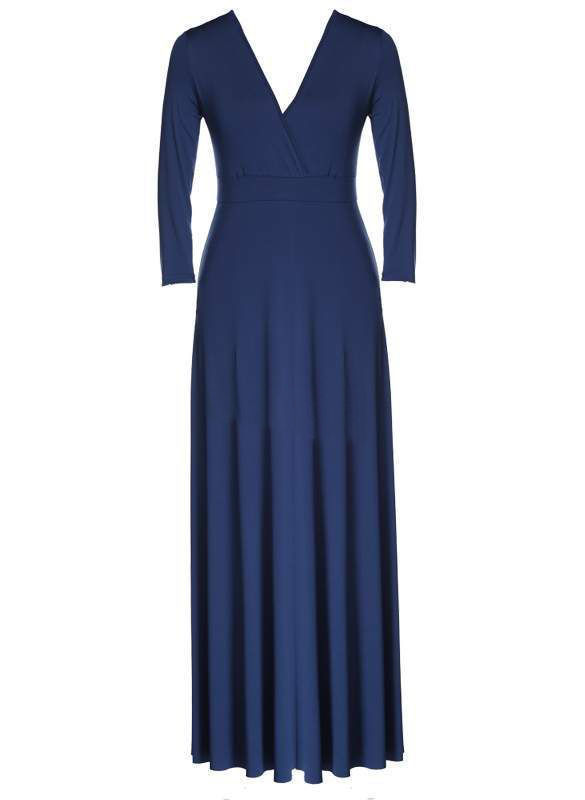 SZ60044-5 Women Long Knitwear V Neck Plus Size Bridesmaid Dress with Long Sleeve