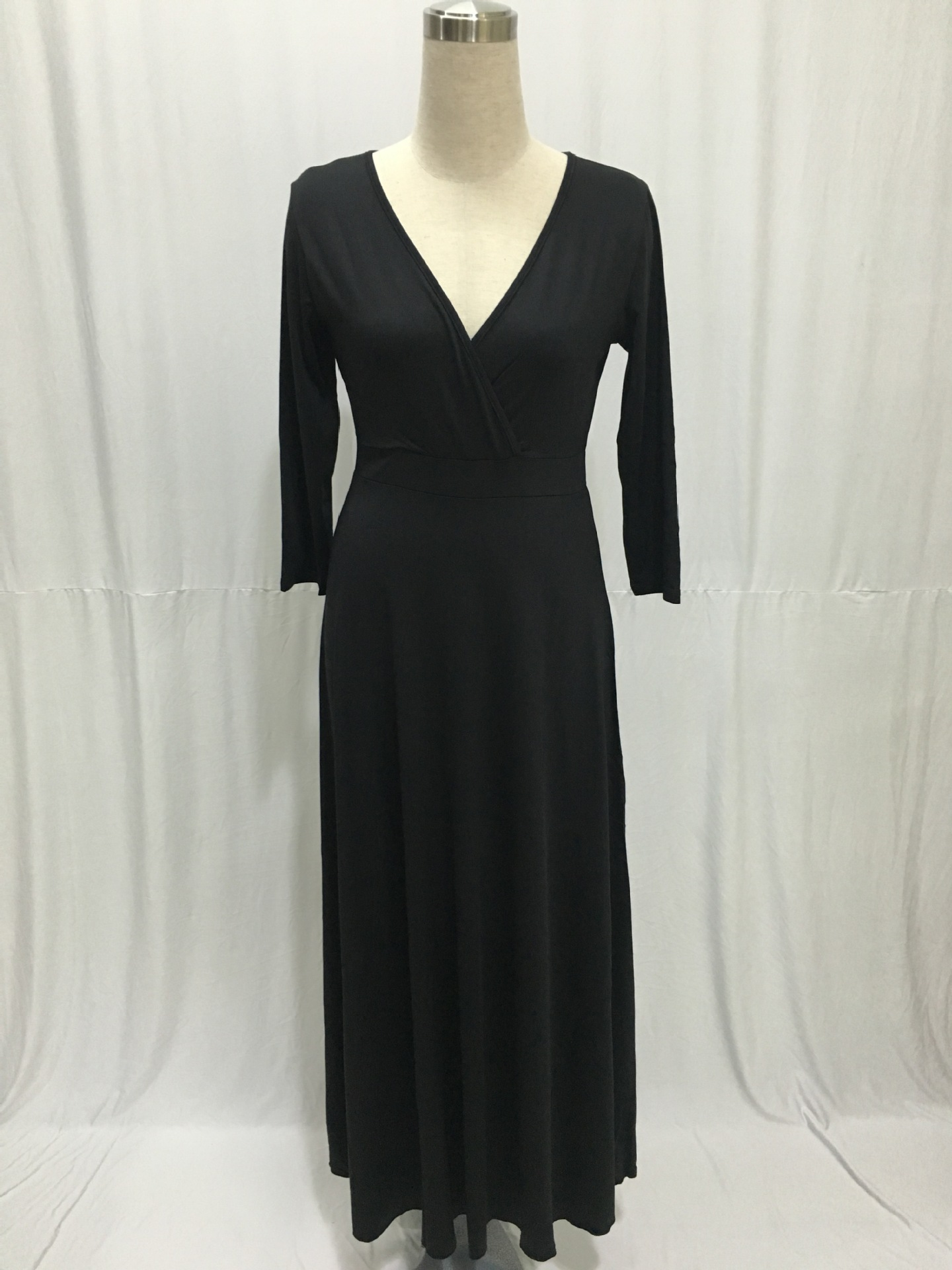 SZ60044-6 Women Long Knitwear V Neck Plus Size Bridesmaid Dress with Long Sleeve