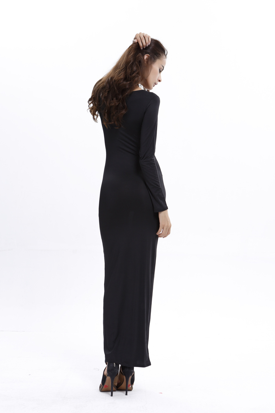 SZ60045-3 Bodycon Scoop Neck Long Sleeve Maxi Dress