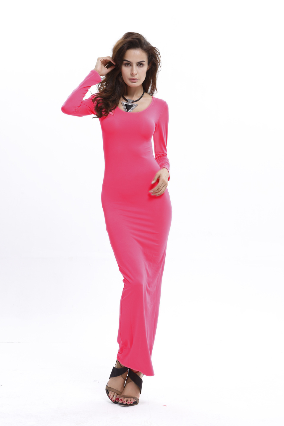 SZ60045-5 Bodycon Scoop Neck Long Sleeve Maxi Dress