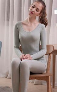 SZ60047-1 Womens Long Thermal Underwear Fleece Lined Winter Base Layering Set