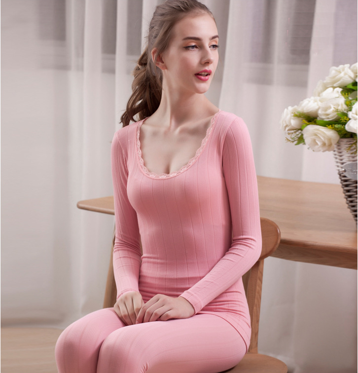 SZ60047-7 Womens Long Thermal Underwear Fleece Lined Winter Base Layering Set