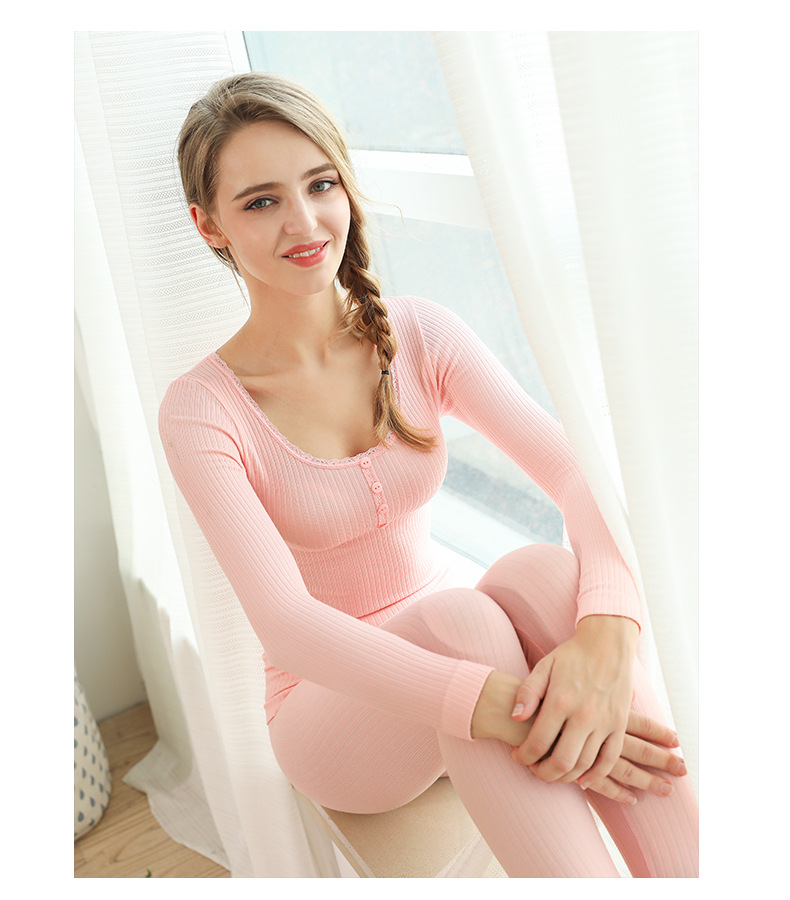 SZ60049-2 Ladies Lace Thermal Underwear Sets Solid Color Thin Section Underwear