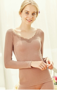 SZ60050-4 Thermal Underwear V Neck Warm Embroidery Set Top And Bottom for Women