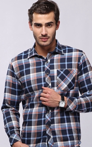 SZ60058-2 Winter business plaid button down mens long sleeved shirt