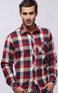 SZ60058-3 Winter business plaid button down mens long sleeved shirt