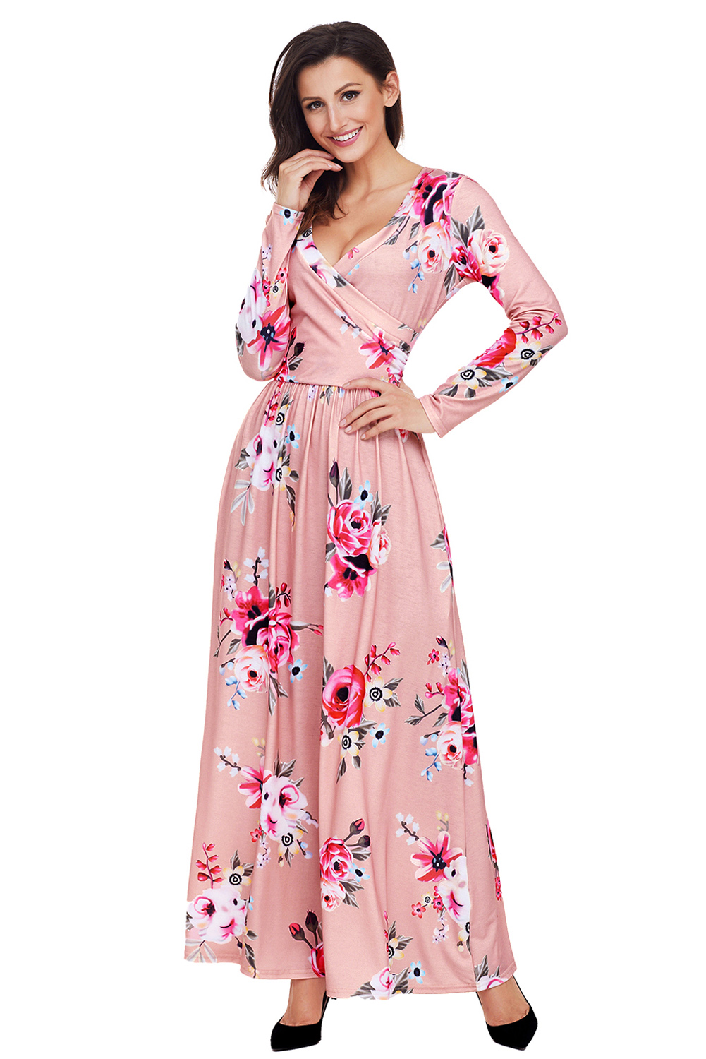 BY61772-10 Mauve Floral Surplice Long Sleeve Maxi Boho Dress