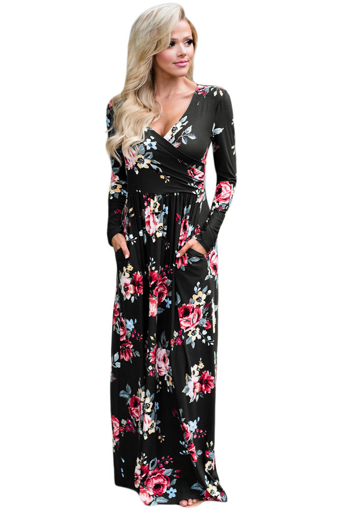 BY61772-2 Black Floral Surplice Long Sleeve Maxi Boho Dress
