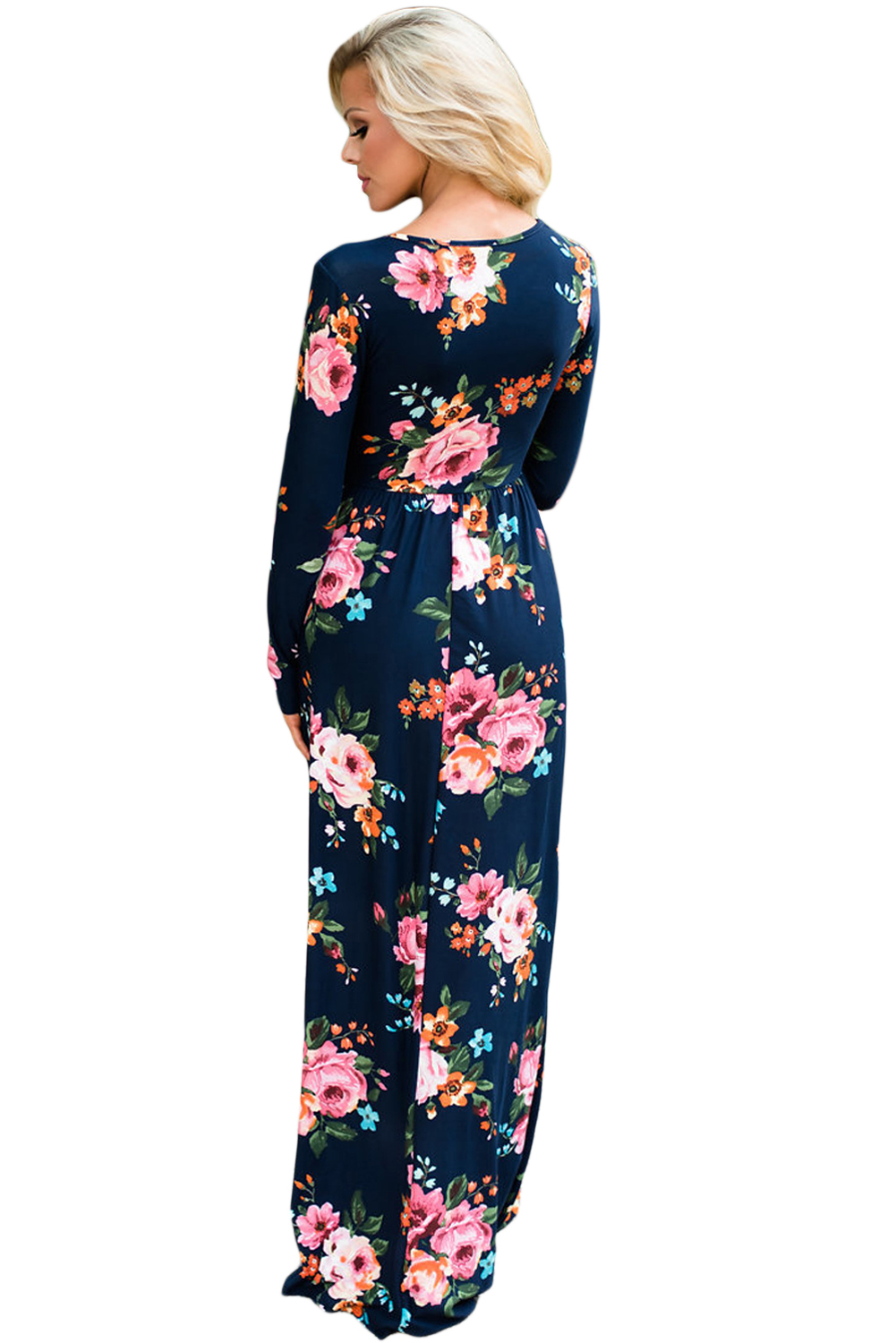 BY61772-5 Navy Floral Surplice Long Sleeve Maxi Boho Dress