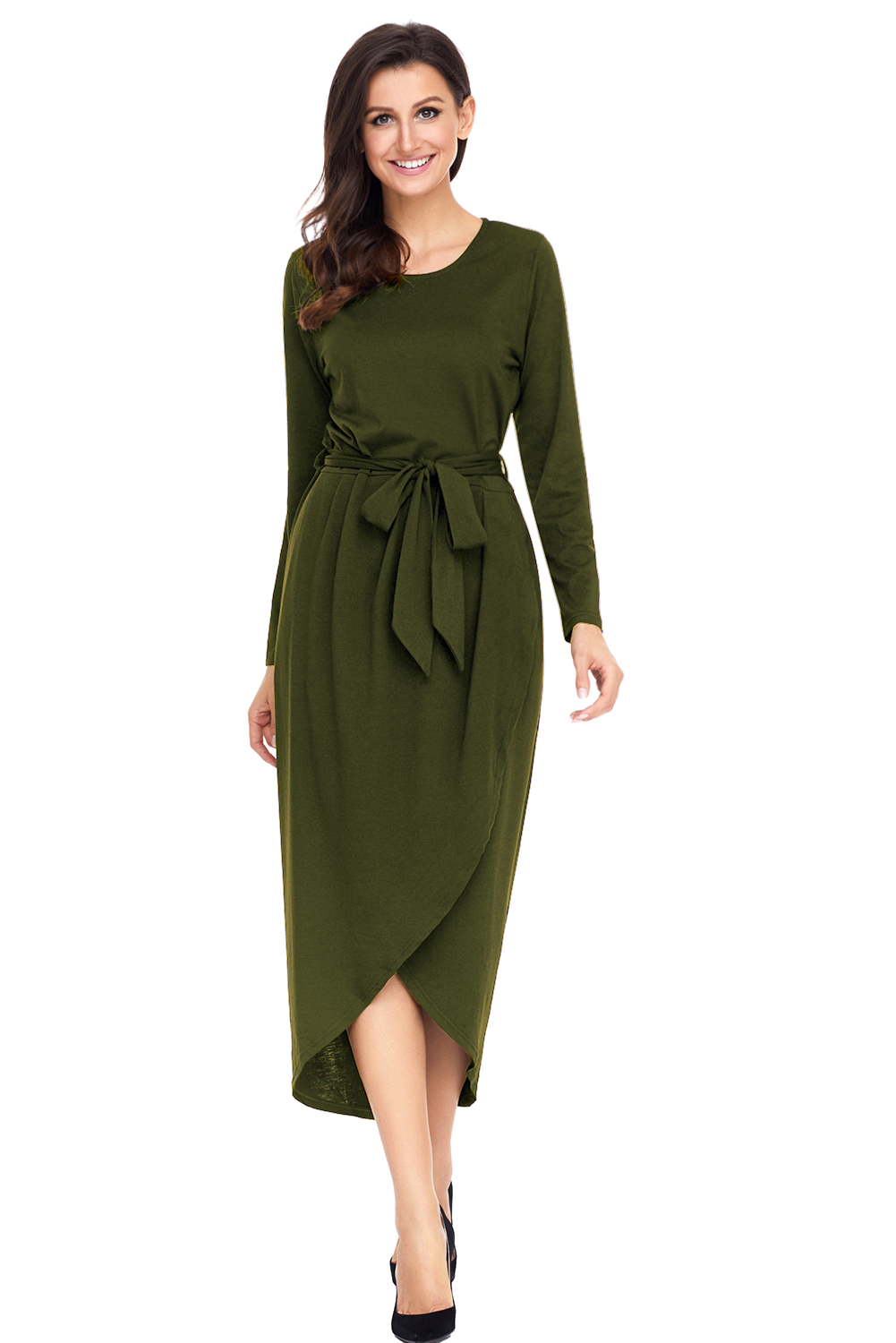 BY61818-9 Olive Tulip Faux Wrap Sash Tie Jersey Dress