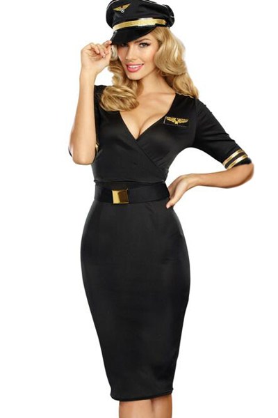 BY89065-2 Flight Captain Adult Sexy Pilot Costume