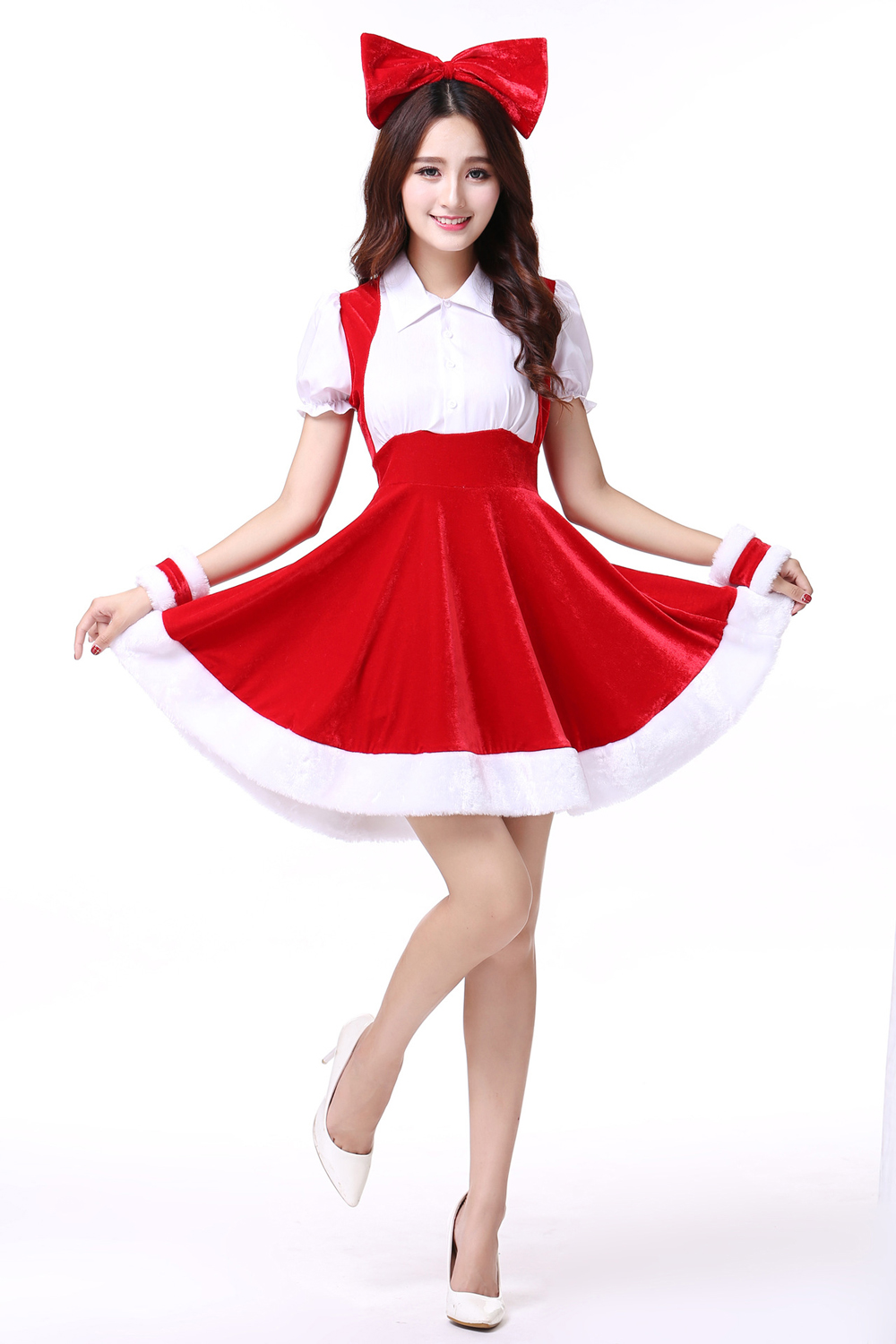 FC148 Christmas Costume Party Sweetheart Miss Halloween Santa Cosplay Dress