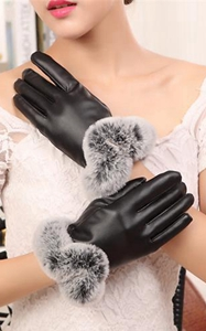 SZ60071-1 Womens Winter Touchscreen PU Leather Gloves Thermal Lining Mittens