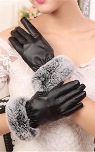 SZ60071-3 Womens Winter Touchscreen PU Leather Gloves Thermal Lining Mittens