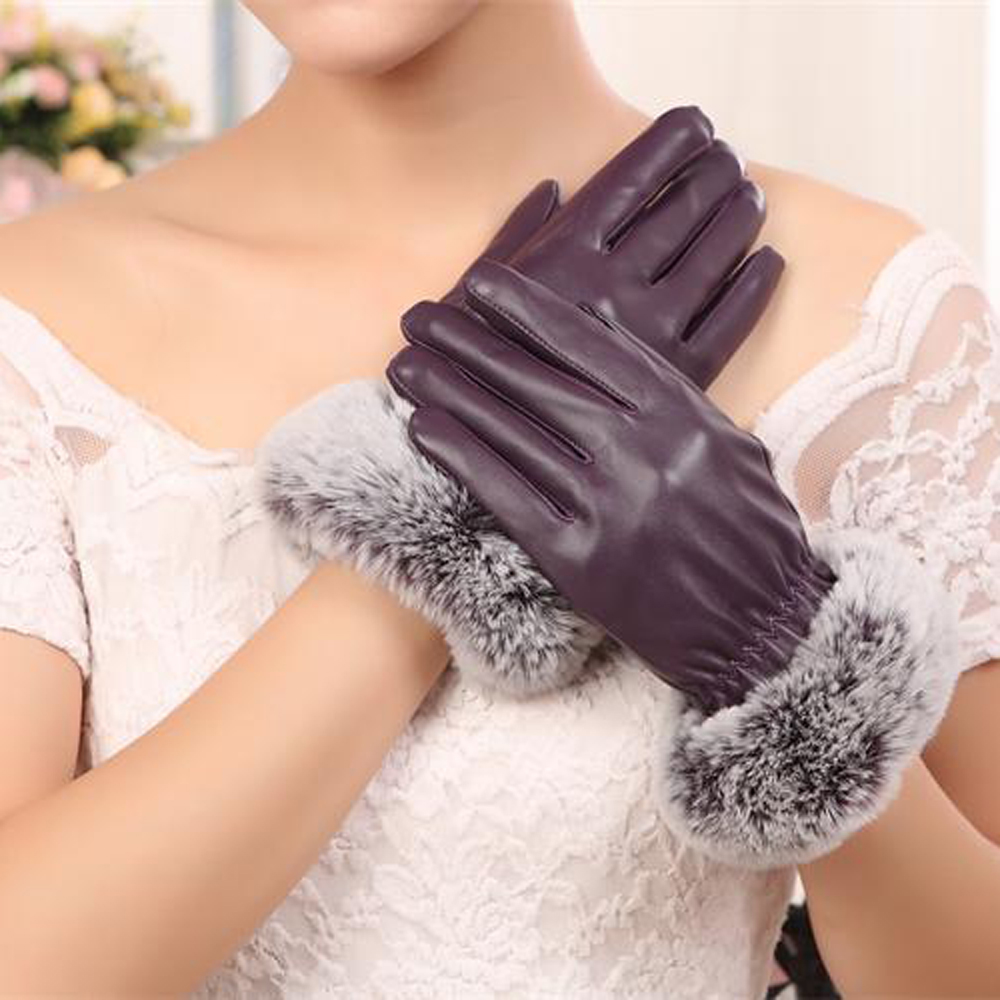 SZ60071-4 Womens Winter Touchscreen PU Leather Gloves Thermal Lining Mittens