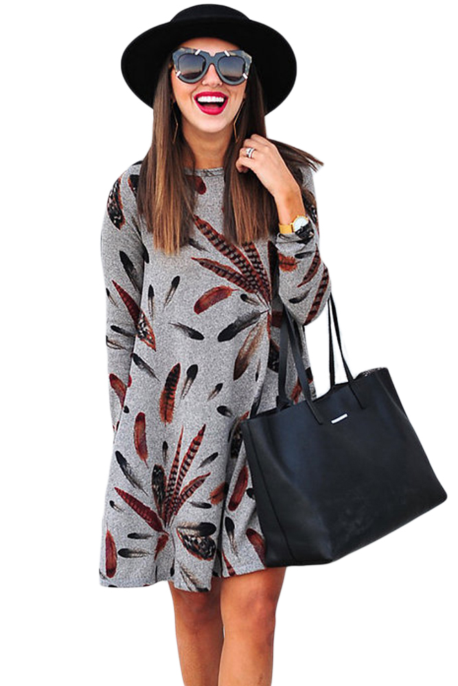 BY220210-11 Gray Feather Graphic Pocket Tunic Dress