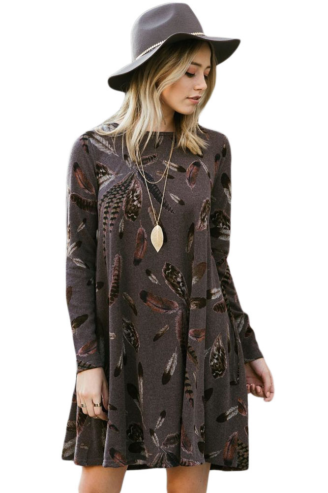 BY220210-17 Coffee Feather Graphic Pocket Tunic Dress