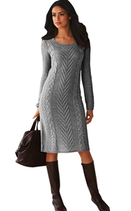 BY27772-11 Gray Women's Hand Knitted Sweater Dress