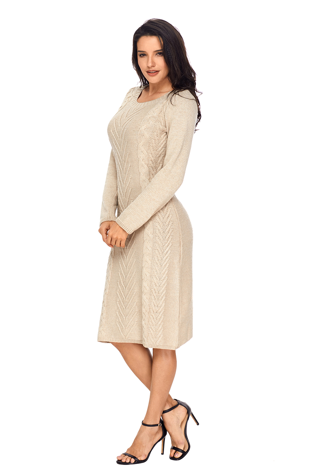 BY27772-16 Khaki Women's Hand Knitted Sweater Dress