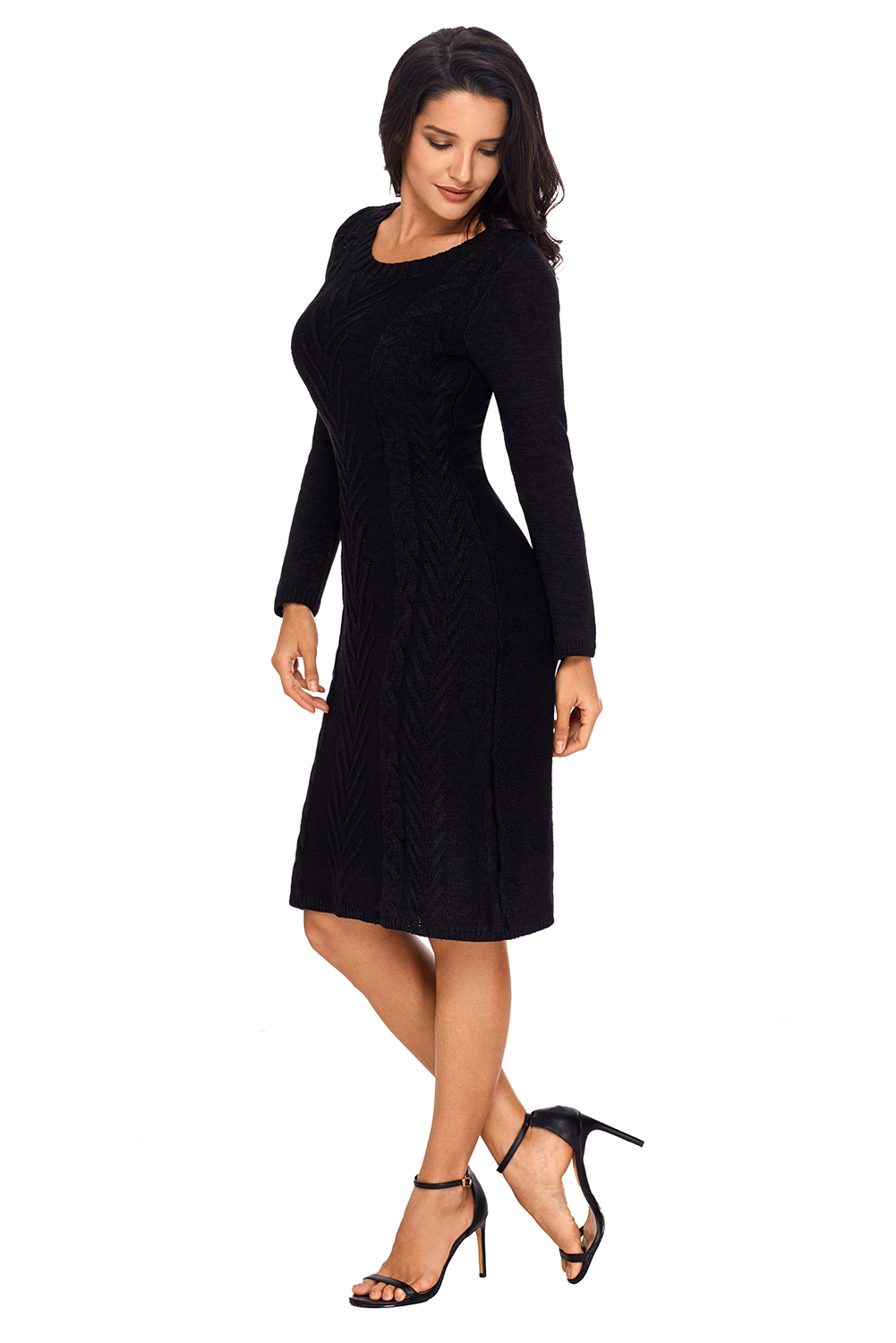 BY27772-2 Black Womens Hand Knitted Sweater Dress