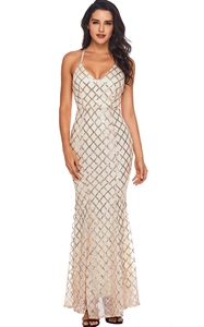 BY61868-10 Pink Gold Sequins Crisscross Maxi Evening Dress