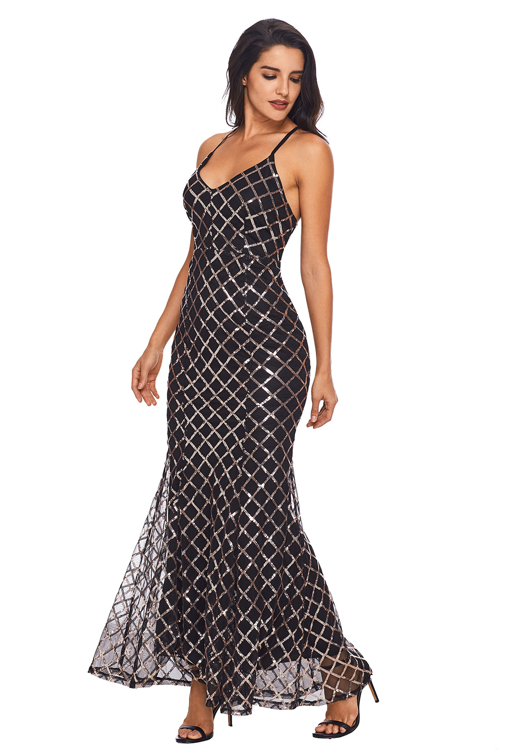 BY61868-2 Black Gold Sequins Crisscross Maxi Evening Dress