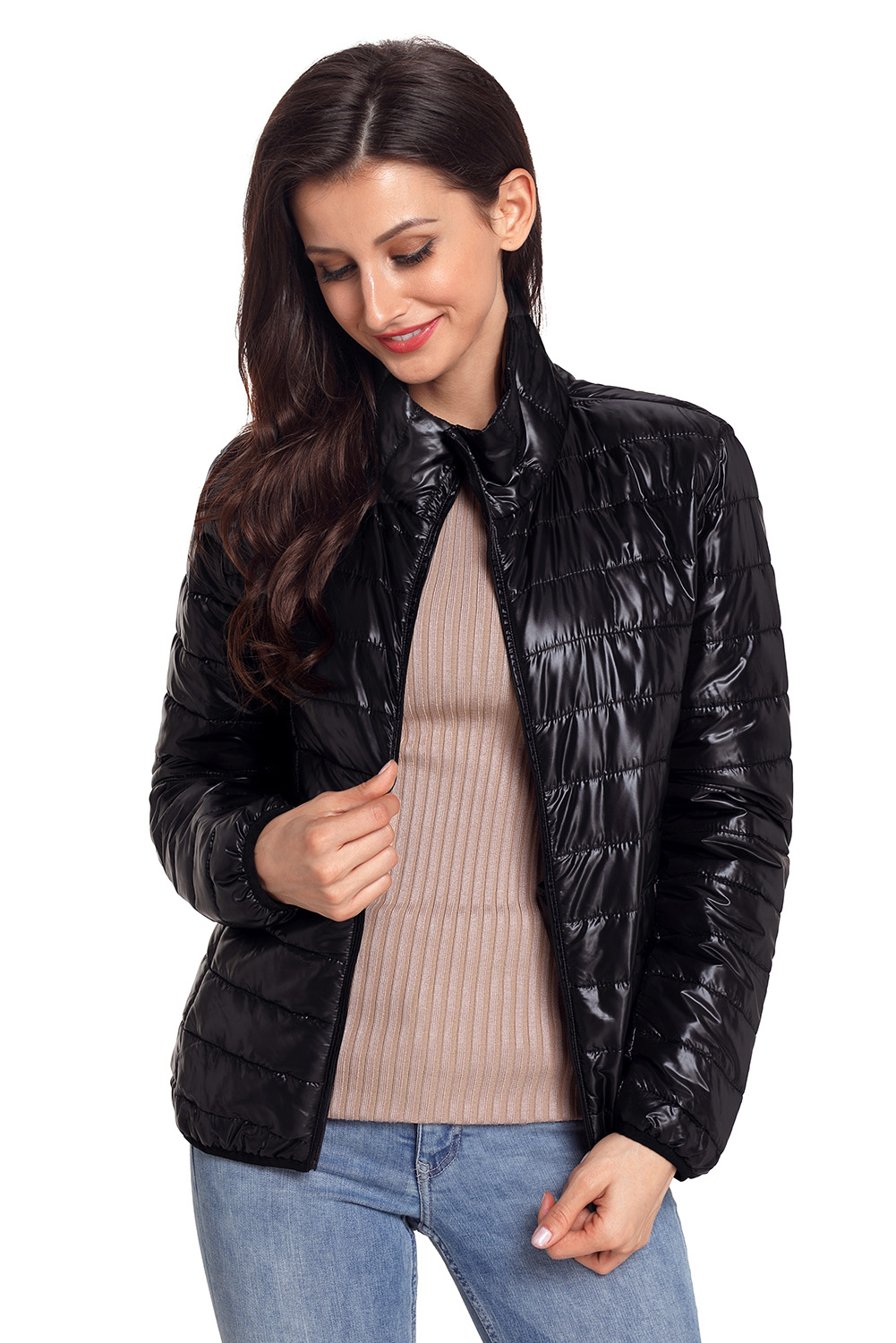 BY85126-2 Black High Neck Quilted Cotton Jacket