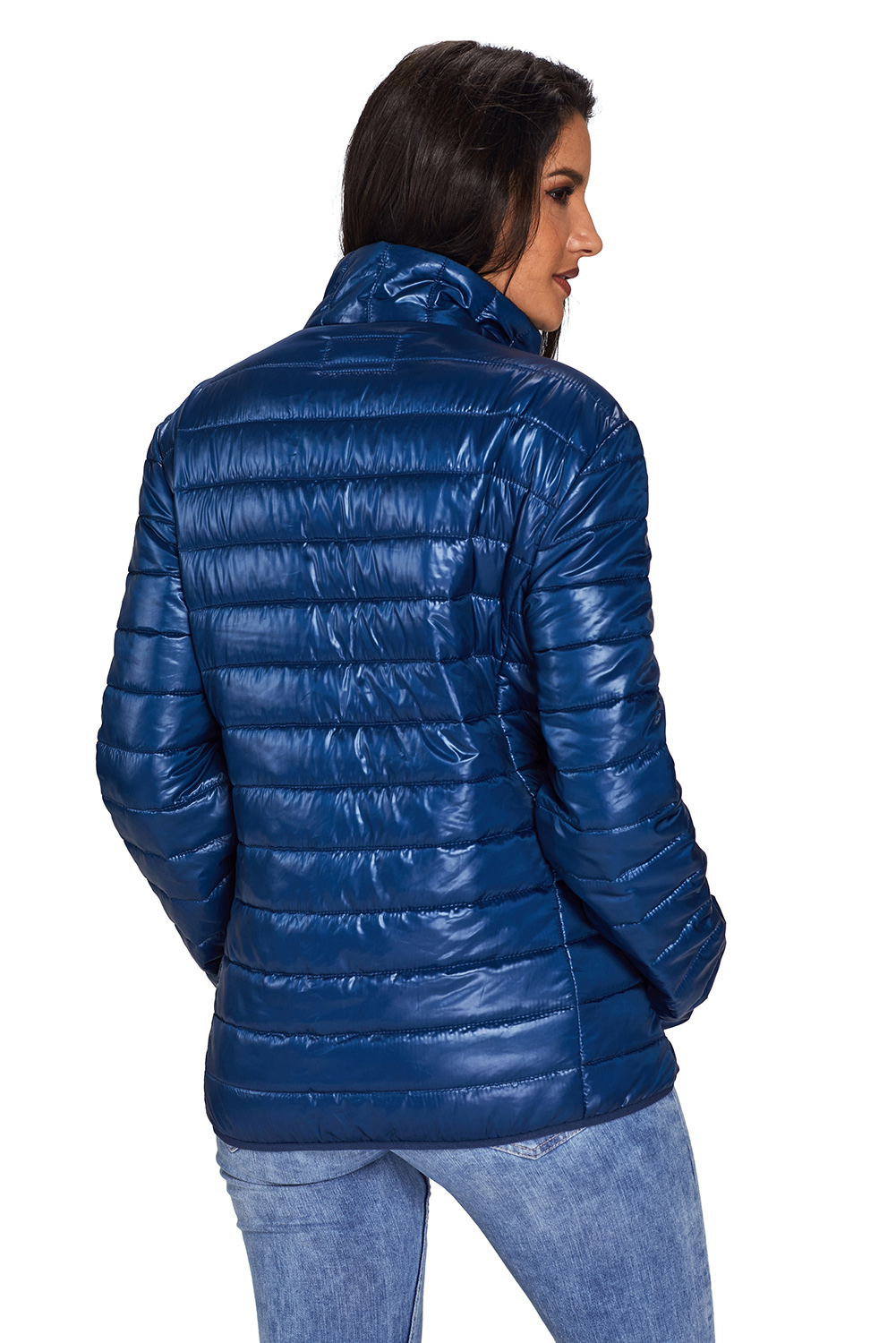 BY85126-5 Blue High Neck Quilted Cotton Jacket