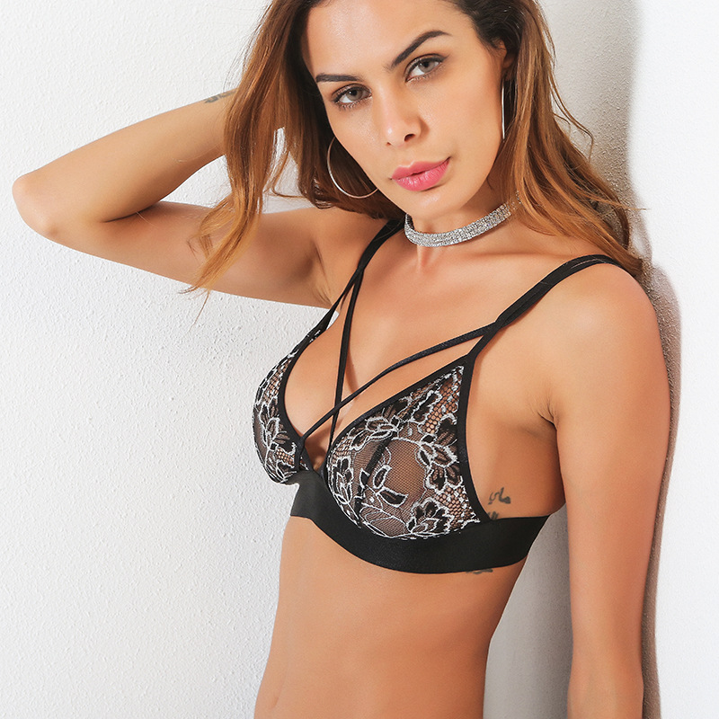 F5370 Black Crochet Lace Embellished Crossed Collar Bra