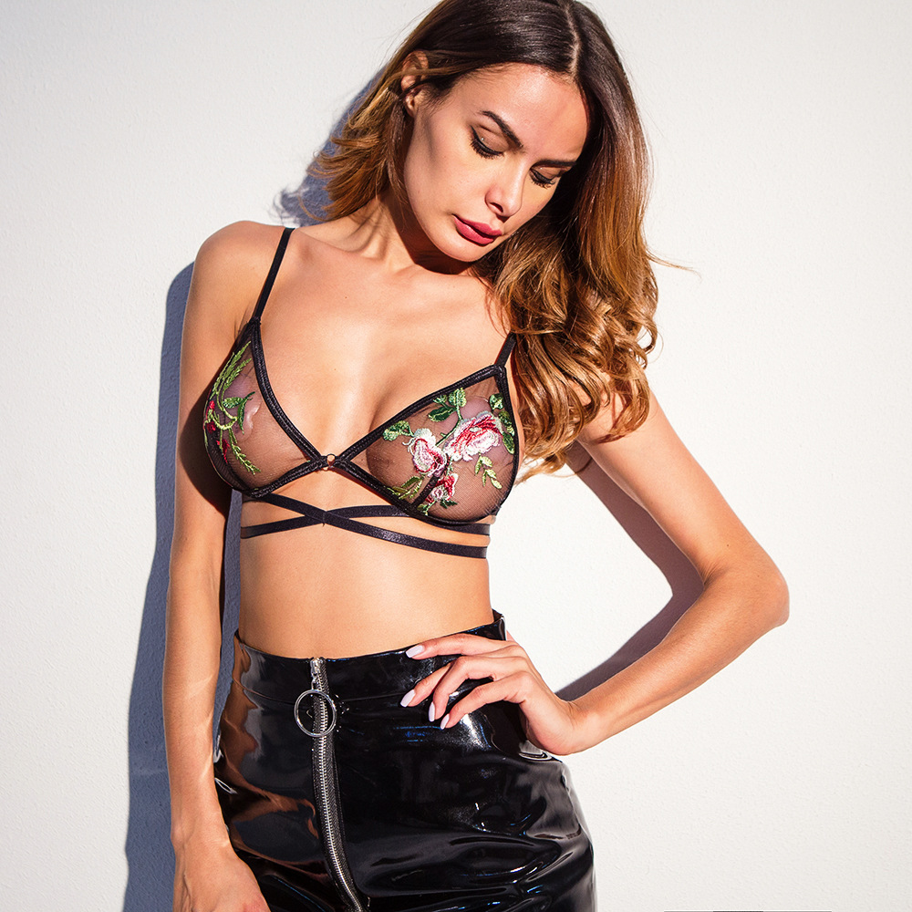 F5372 Womens Embroidered Floral Printed Strappy Bralette