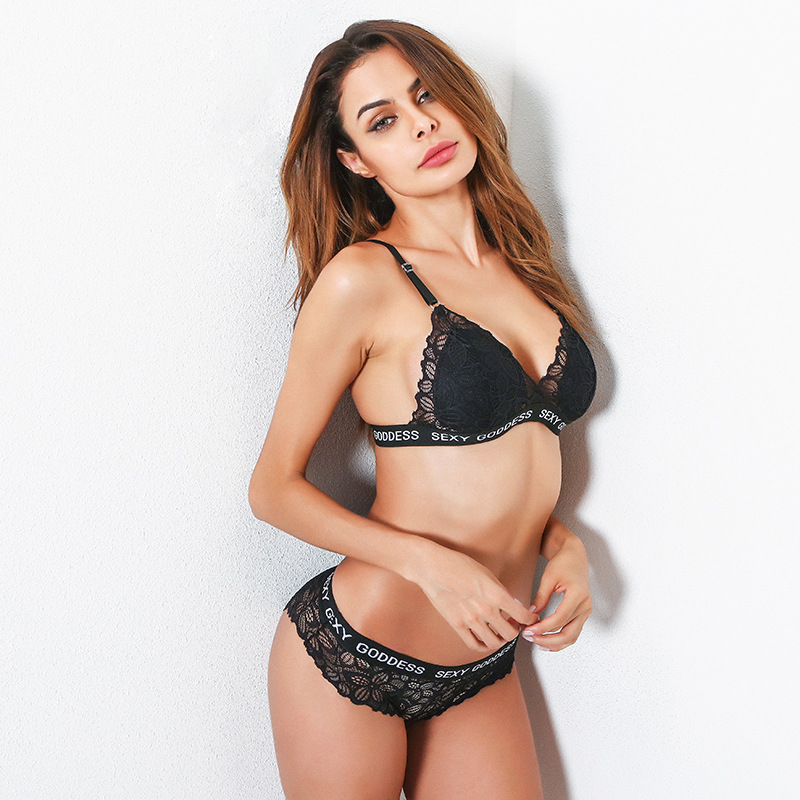 F5373 Womens Embroidery Bras Set Lace Lingerie Bra and Panties