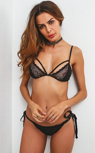 F5374 Sexy Strappy Lace Lingerie Bra and Panty Sets For Women