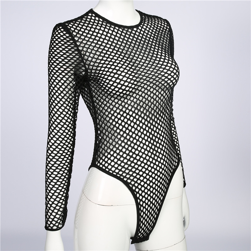 F5376-1Sexy Long Sleeve Mesh Transparent See Through Teddy Lace Fishnet Bodysuit