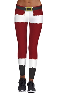 SZ60076 Womens Funny Stripe Printed Pattern Christmas Leggings Ankle Length