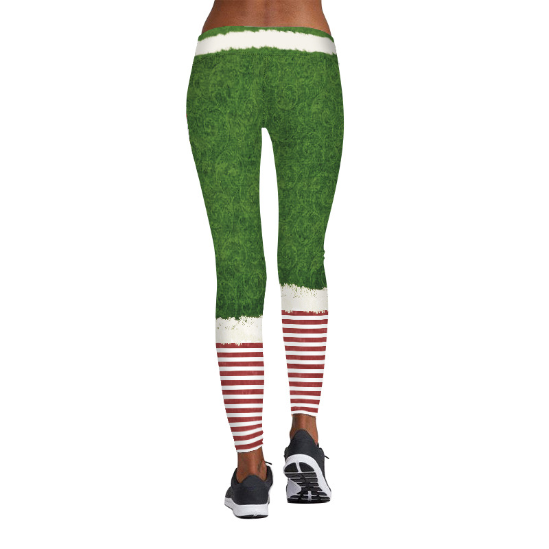 SZ60081 Womens Stripe Tights Workout Stretchy Pants Chritsmas Printed Leggings