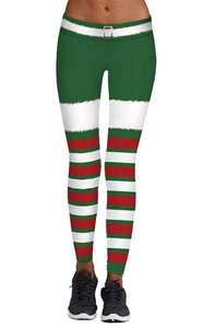 SZ60082 Womens Stripe Tights Workout Stretchy Pants Chritsmas Printed Leggings