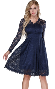 F2528-1 Retro Floral Lace Long Sleeve Vintage Swing Cocktail Bridesmaid Dress
