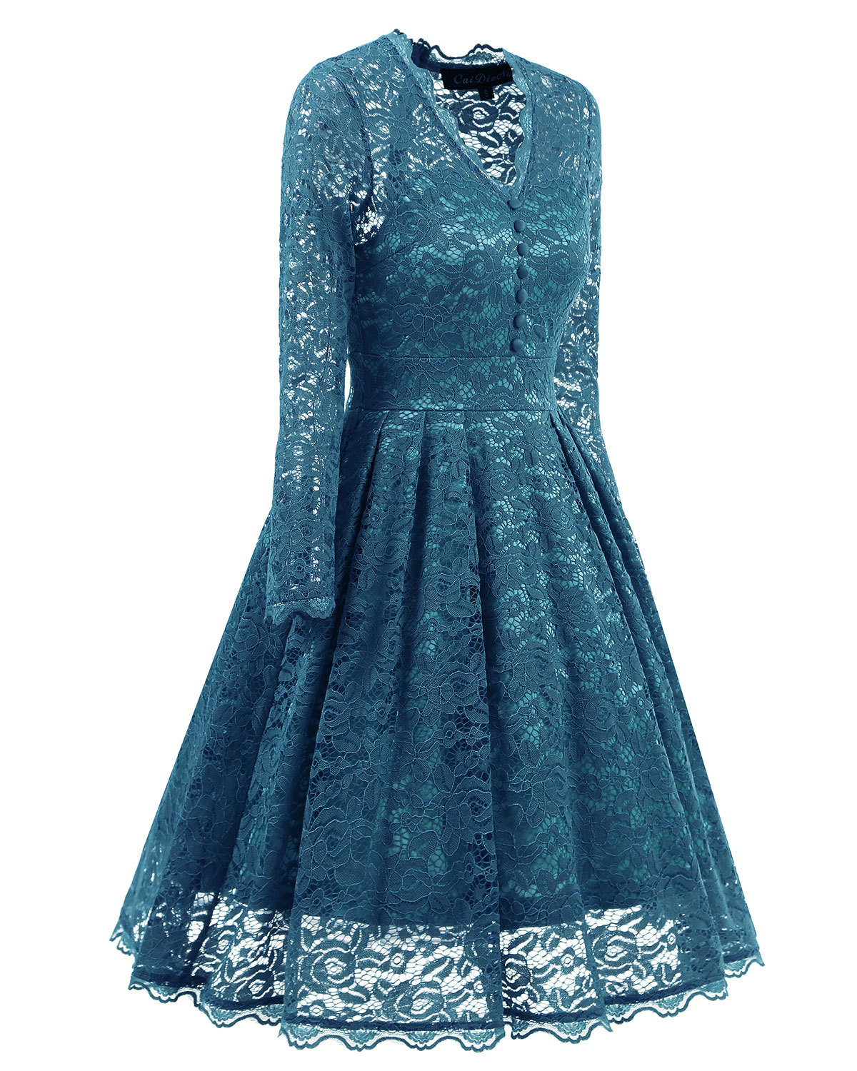 F2528-5 Retro Floral Lace Long Sleeve Vintage Swing Cocktail Bridesmaid Dress