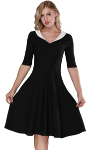 F2529-1 Womens  Vintage 1950s Cape Collar Swing Midi Cocktail Party Dresses