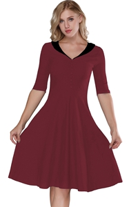F2529-2 Wine Red & Black   Retro Vintage Style Cocktail Party Swing Dress