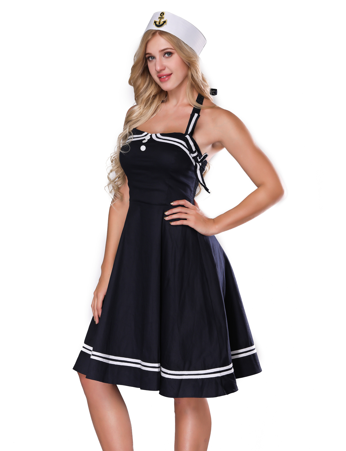 F2530 Womens 1950s Halter Vintage Rockabilly Dress Pinup Retro Sailor  Costume