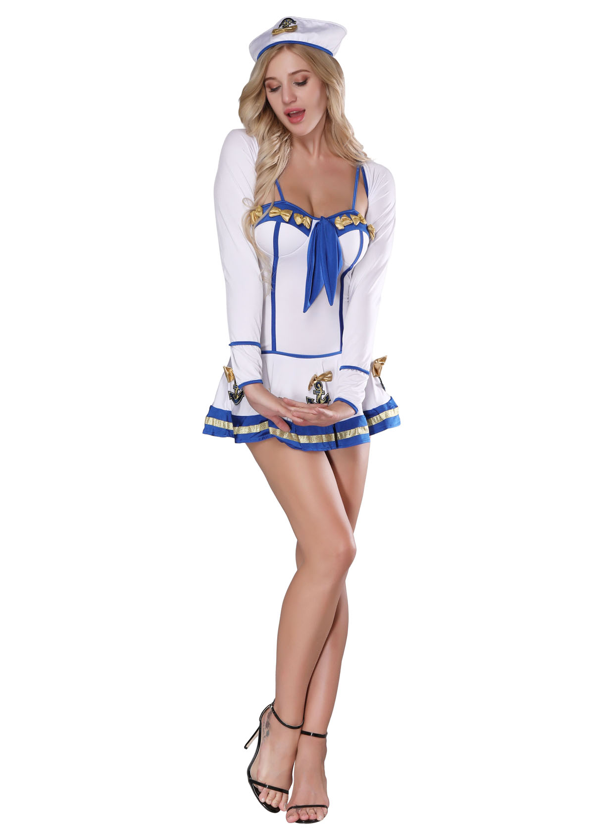 NF1189A Womens Sailor Costume Sexy Sailor Halloween Costume Captain Dress