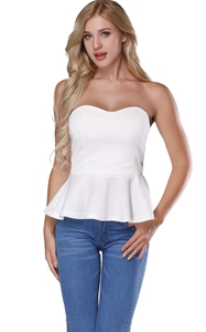 NF2133A Peplum Tops Sleeveless Ruffle Hem Sexy Off Shoulder White Crop Top Shirt