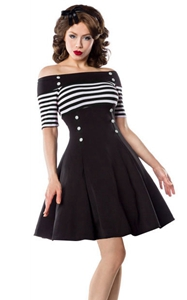 SZ60087-1Womens Classy Stripes A line Short Sleeve Cocktail Retro Vintage Dress