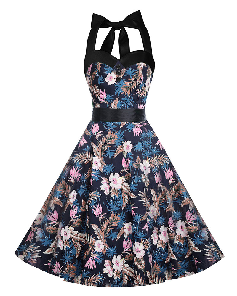 SZ60092-3 Womens 1950s Halter Floral Vintage Retro Cocktail Party Swing Dress