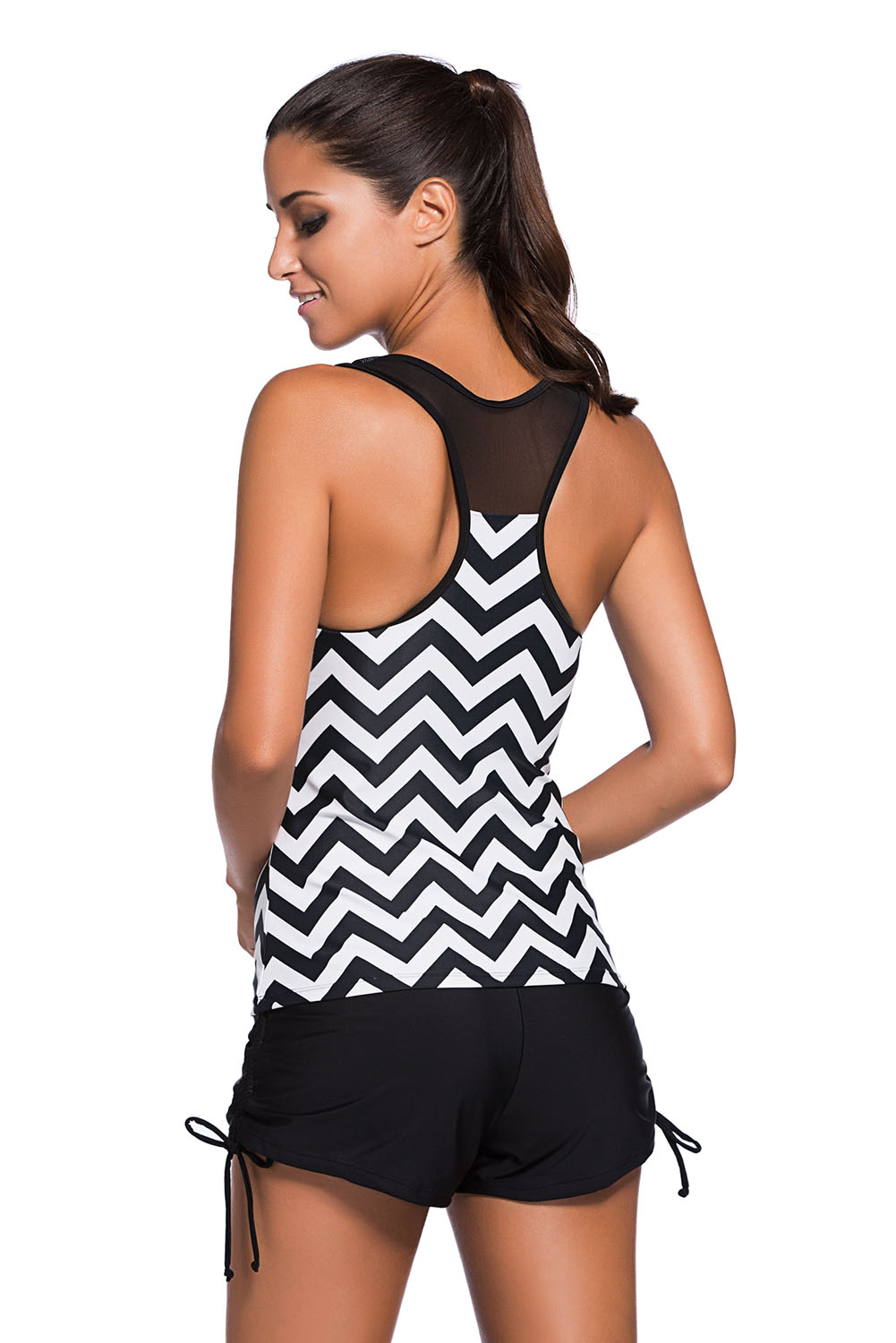 BY410119 Black White Zigzag Print Mesh Splice 2pcs Tankini Swimsuit