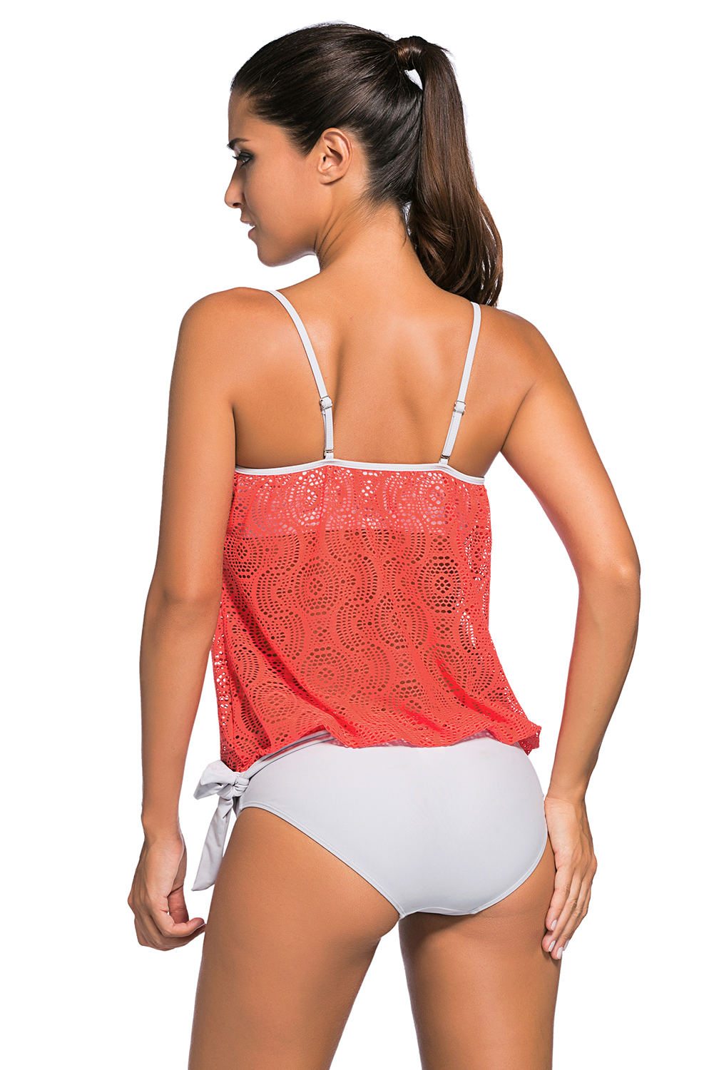 BY41917-14 Orange Lace Overly 2pcs Bandeau Tankini Swimsuit