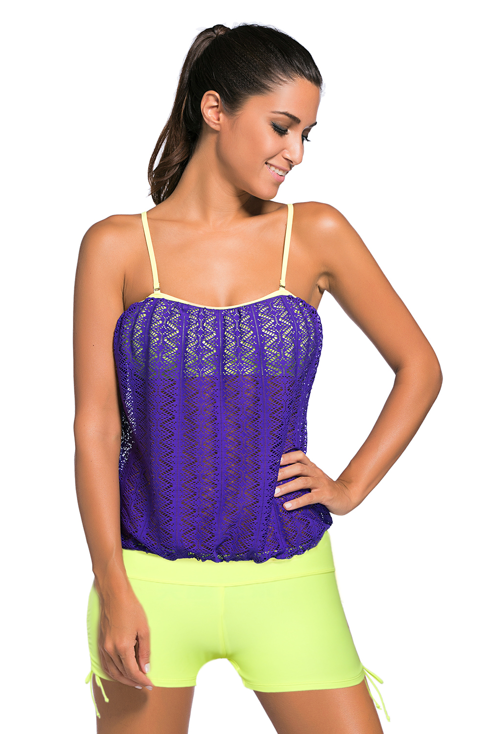 BY41917-8 Purple Lace Overly 2pcs Bandeau Tankini Swimsuit