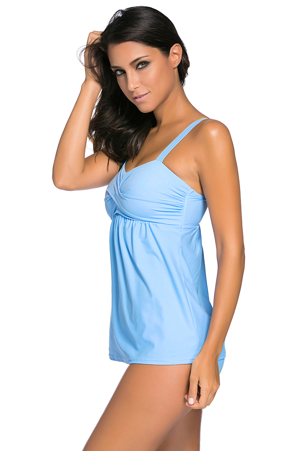 BY41933-104 Mint Blue 2pcs Swing Tankini Swimsuit