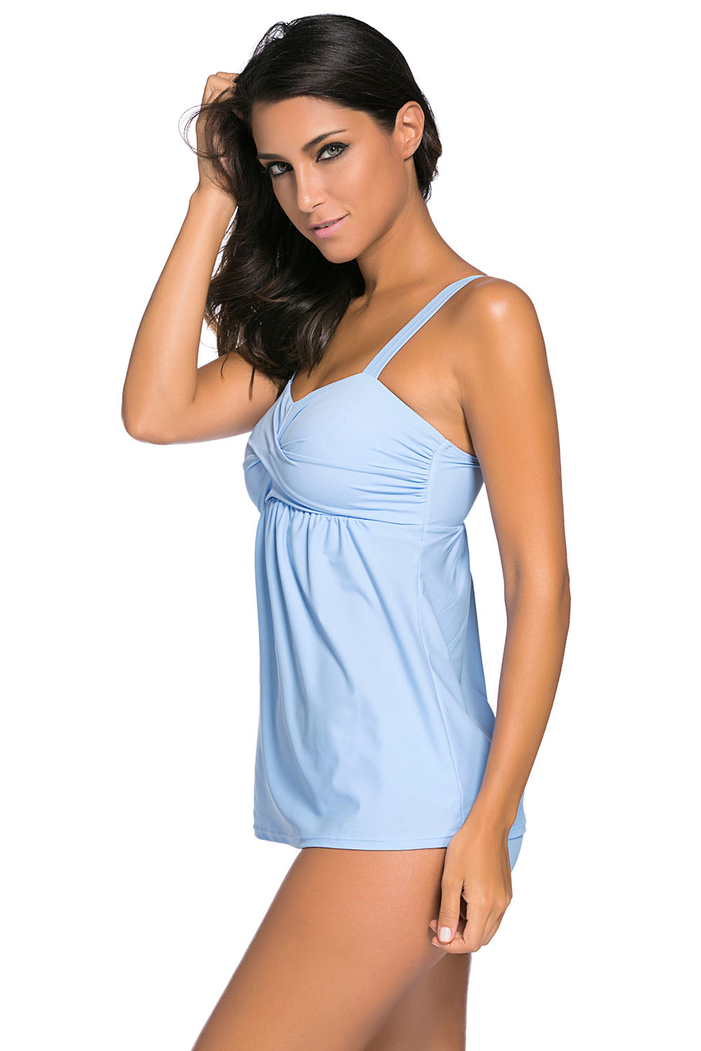 BY41933-4 Light Blue 2pcs Swing Tankini Swimsuit